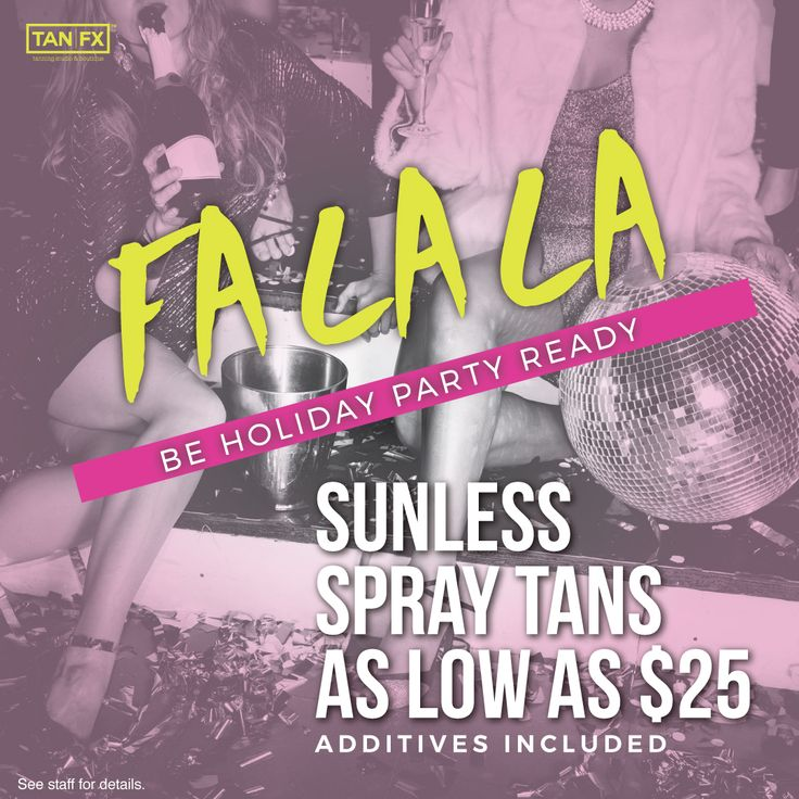 Get glamourous and holiday party ready with a glorious glow!   Through December 31st, Sunless Spray Tans start as low as $25!  #HolidayParty #GetGlam #SprayTan #Tanning