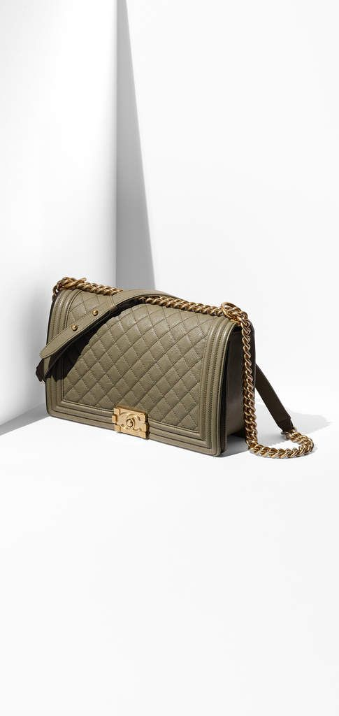 Boy CHANEL flap bag, grained calfskin & gold metal-khaki - CHANEL