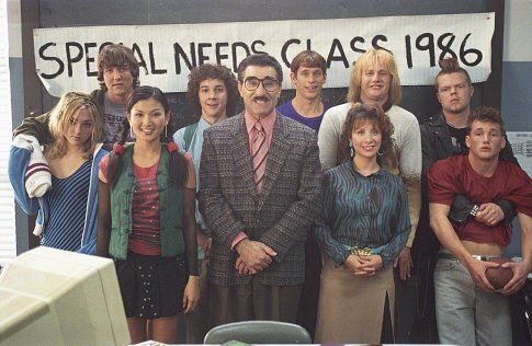 (left to right) front row: Terri (Teal Redmann), Ching Chong (Michelle Krusiec), Principal Collins (Eugene Levy), Ms. Heller (Cheri Oteri) and Carl (Will Lee Scott). Back row: Toby (Josh Braaton), Lewis (Shia LeBeouf), Lloyd (Eric Christian Olsen), Harry (Derek Richardson) and Turk (Elden Henson)