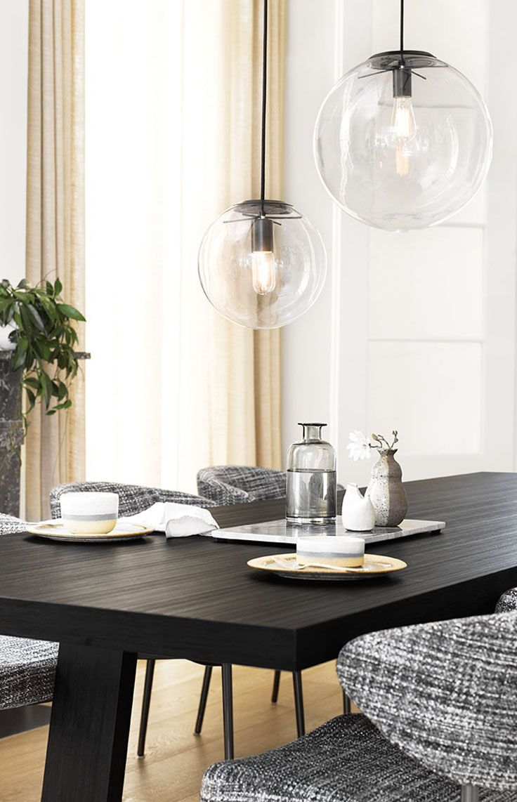 The Beacon Lighting Marcel 400mm 1 light pendant in black with clear glass