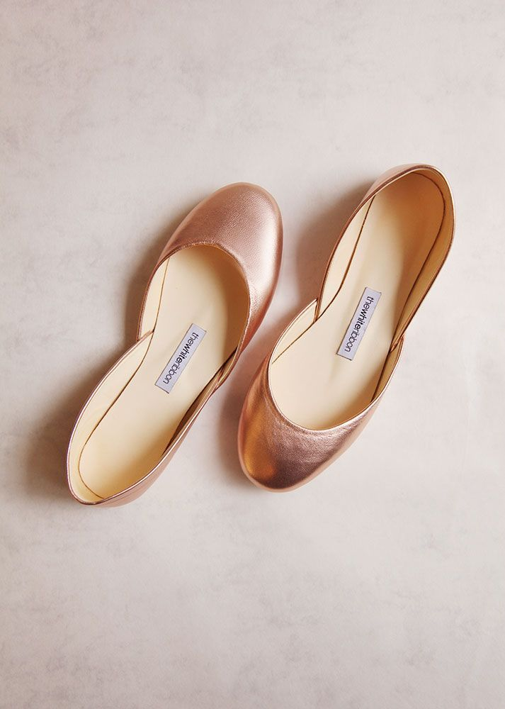 25f320932a7 Rose Gold leather bridal ballet flats, sustainably made by ...