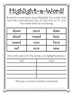 highlight a word ou and ow phonics activity students highlight words with the spelling. Black Bedroom Furniture Sets. Home Design Ideas