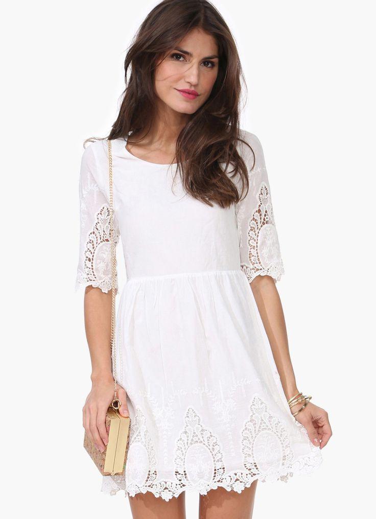 Vestido Crochet manga media-blanco 20.10