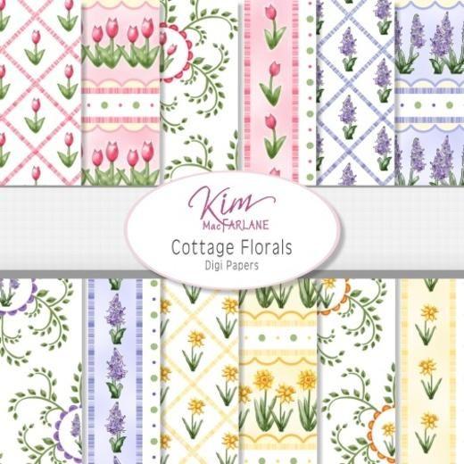 Kim's Digi Papers - Cottage Florals