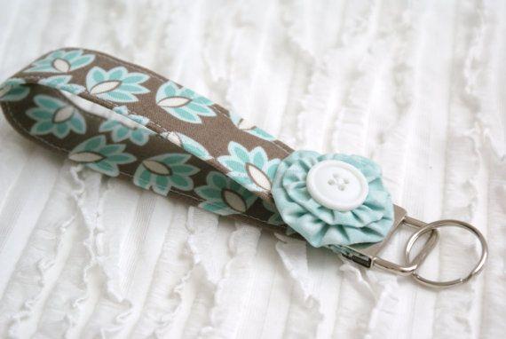 Key Fob  Aqua Floral on Brown with Aqua  by GrandmasChalkboard, $6.75