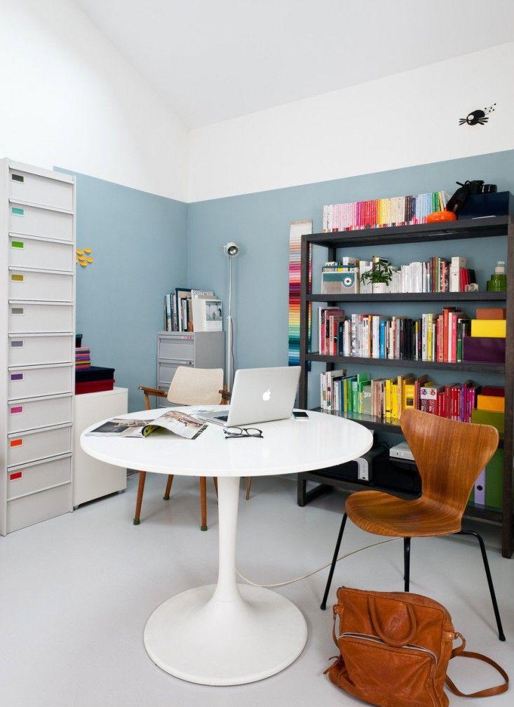 Caroline Gomez, Pastels and Colors in Bordeaux House, Studio Office, Light Blue Paint  | Remodelista