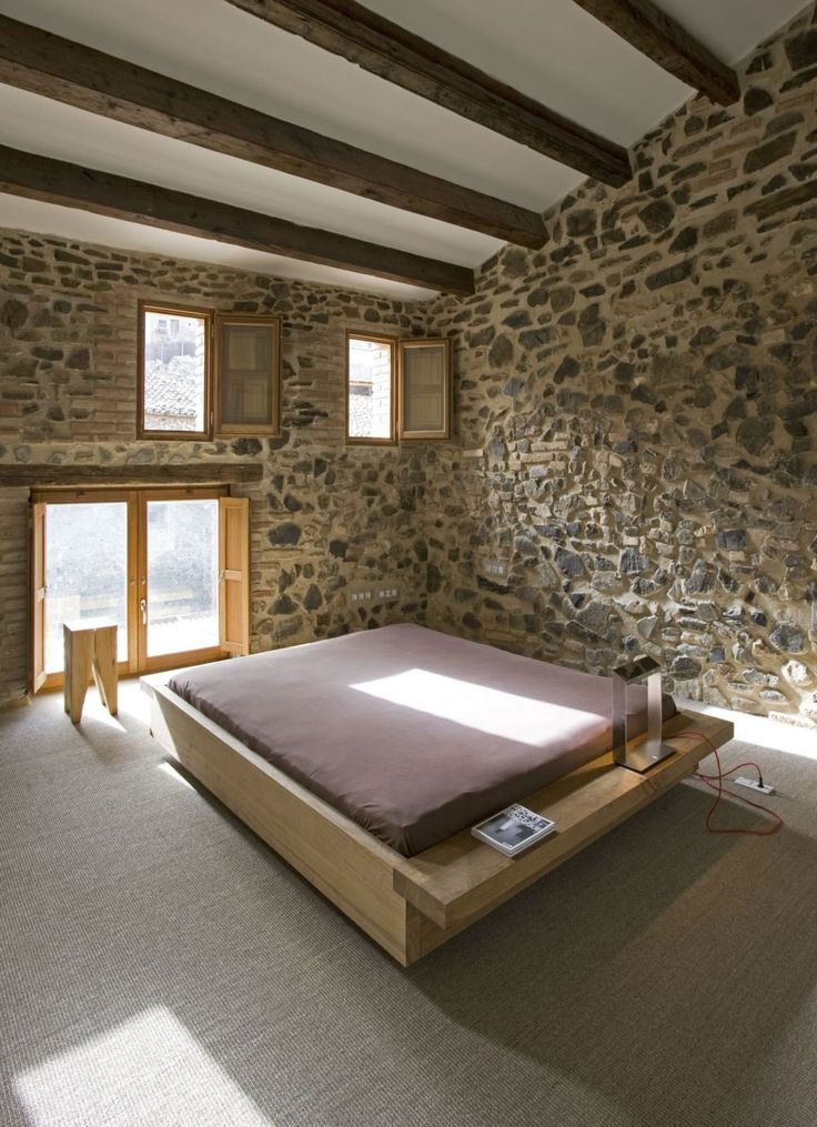 Wooden Couch For Purple Bed Facing Glazed Window In Minimalist Bedroom, - http://kmillar.com/modest-minimalist-private-home-and-wine-cellar-interior-design-by-minim/