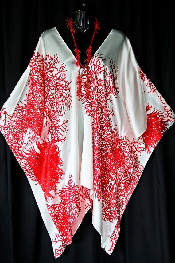 100 Silk Red Coral V neck Kaftan CUSTOM ORDER by MollyKaftans, $115.00