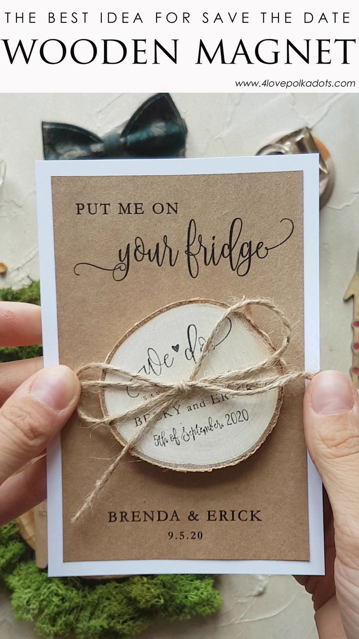 Perfect idea for SAVE THE DATE – wooden magnet for your guests! #savethedate #savethedateideas #woodenmagnet #rusticwedding