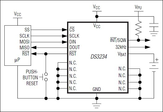 This real-time clock IC with integrated crystal is extremely accurate, It offers an SPI bus