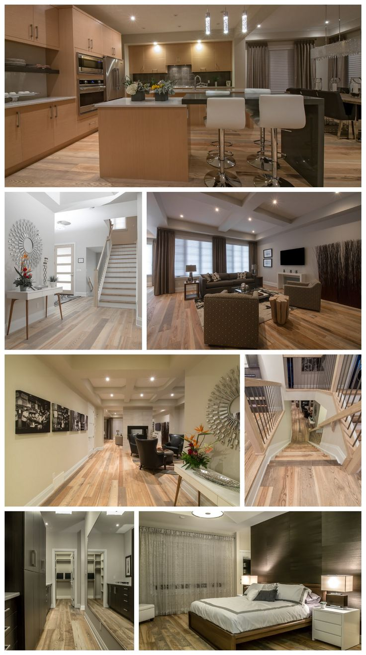Contemporary model home in Edmonton by Averton Homes. The engineered ash flooring changes cast depending on the surrounding colors.