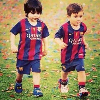 Pique's son Milan and Messi's son Thiago