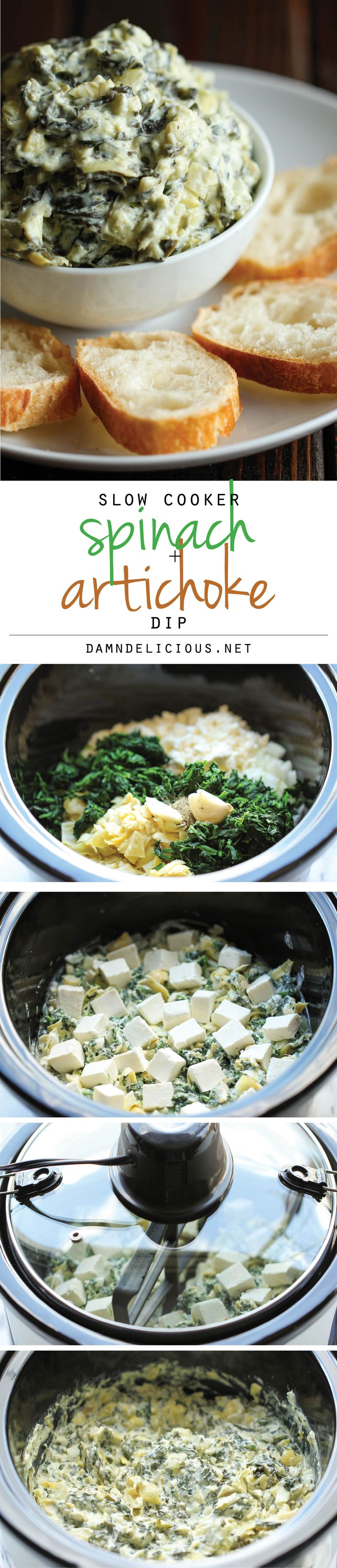 Slow Cooker Spinach and Artichoke Dip - Simply throw everything in the crockpot for the easiest, most effortless spinach and artichoke dip!