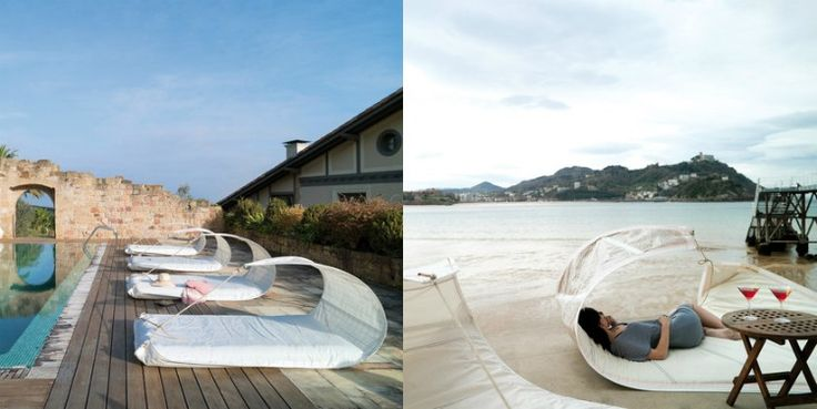 bain de soleil design en blanc neige et terrasse en bois composite