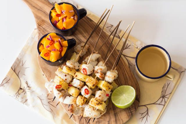 These coconut encrusted pineapple and fish kebabs served alongside a helping of mango salsa definitely are fresh and crunchy, sweet, light with a hint of spice.