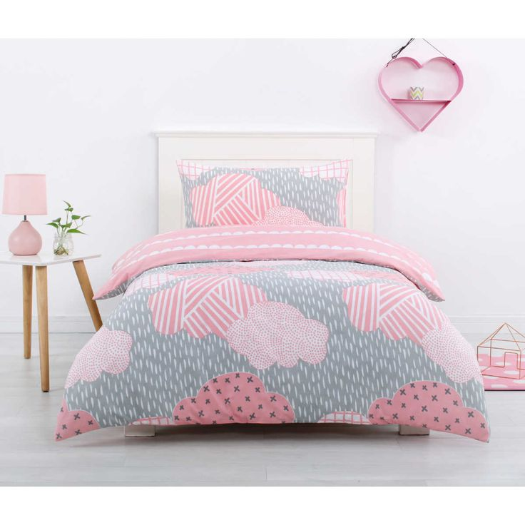 Brighten up your little princesses bedroom with the House & Home Kids Hearts Quilt Cover Set, Featuring Glacier Clouds in pink print to the quilt cover and matching pillow cases. Accessories pictured are for illustrative purposes only, not included.