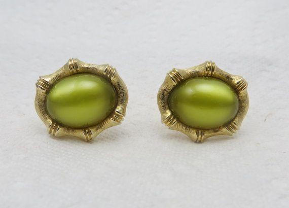 Vintage Cufflinks Green Moonglow Cuff Links by LadyandLibrarian, $43.00
