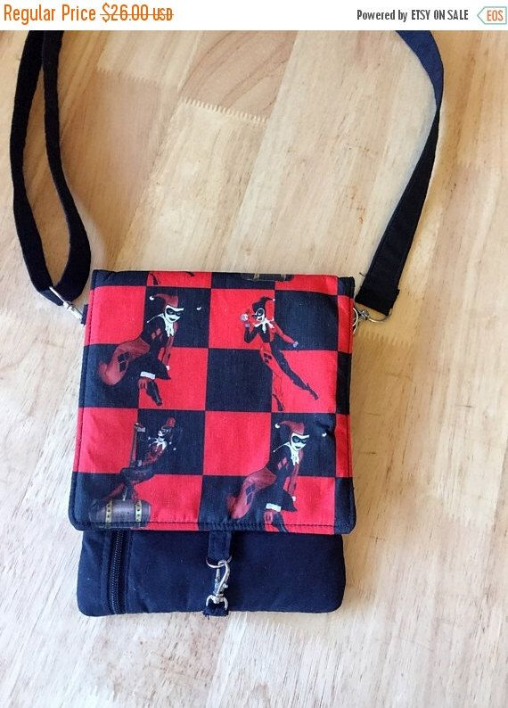 FALL SALE Small crossbody bag/ iPhone purse/ small messenger bag with changeable flaps/ Harley Quinn by PopThree on Etsy https://www.etsy.com/listing/490396257/fall-sale-small-crossbody-bag-iphone