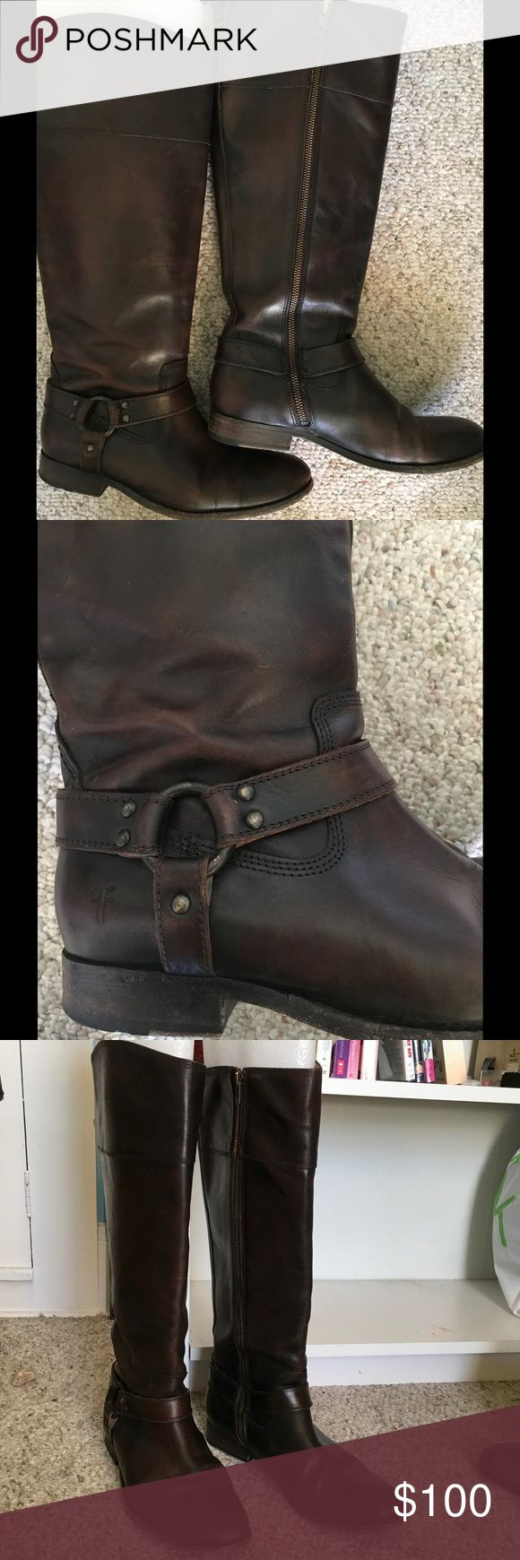 Frye riding boots size 10 Frye brown knee high Phillip Harness riding boot size 10 wide calf. Worn a handful of times over 2 years. Excellent condition. This is a beautiful pair! Frye Shoes