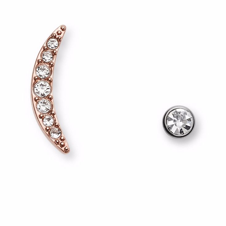 Earrings 50647: New Fossil Rose Gold Crescent Moon Crystals,Silver Stud Earrings Jf02326998 -> BUY IT NOW ONLY: $49.99 on eBay!