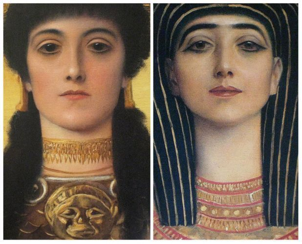 Ancient Greece and Ancient Egypt, detail heads of Athena and Isis (Ceiling above…