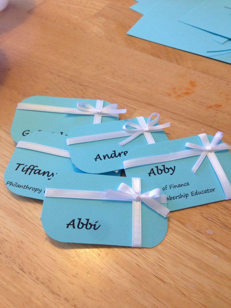 Tiffany's theme name tags for sorority recruitment