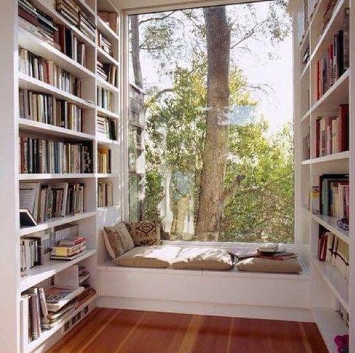 La voilà, ma future bibliothèque, l'arbre d'où vient le papier, le plancher, les rayonnages, tout mon petit monde de miniatures, de la musique, mes livres... Je m'y vois déjà!