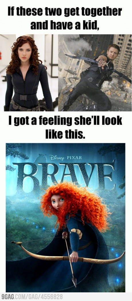 Princess Meridia from Brave is the child of the Black Widow and Hawkeye. What is life right now.
