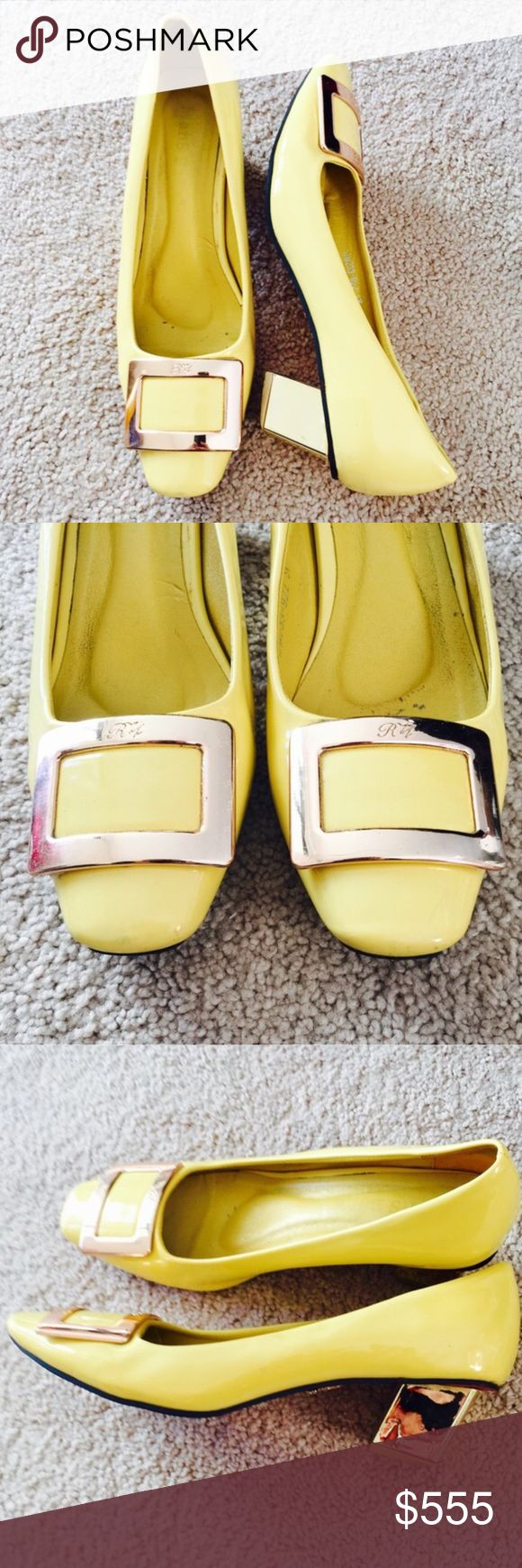 ❗️Saks Fifth Ave Roger Vivier Gold Heels MSRP $780 ❗️Saks Fifth Avenue Roger Vivier Mans Bale Hold & Yellow Heels. Retails $780. Size 7. On good condition! Some wear as shown factored into price. Make an offer! My New Year Sale ends TODAY--giving to the first reasonable offer I receive so feel free to make an offer! Enjoy discounts on bundles! Asap shipping ;-) Saks Fifth Avenue Shoes Heels