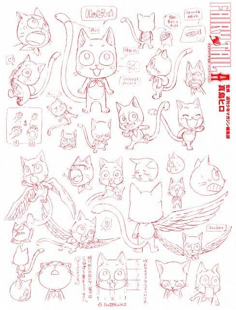 Hiro Mashima, Fairy Tail, Fairy Tail Illustrations: Fantasia, Happy (Fairy Tail), Character Sheet