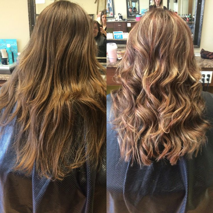 Full Head Of Gold Red Blonde Highlights Long Hair