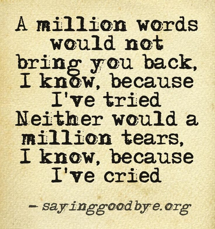 A million words would not bring you back, I know because I've tried neither would a million tears, I know, because I've cried.