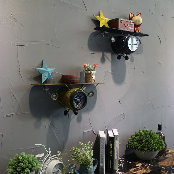 ==> [Free Shipping] Buy Best 2017 new retro-making old trumpet airplane bell single-storey rack wall hanging watches creative iron art Wall Decoration Online with LOWEST Price | 32805985628