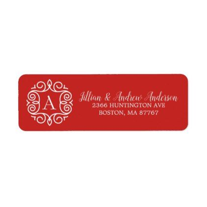 Ornamental Frame Monogram Christmas Address Label - christmas cards merry xmas family party holidays cyo diy greeting card