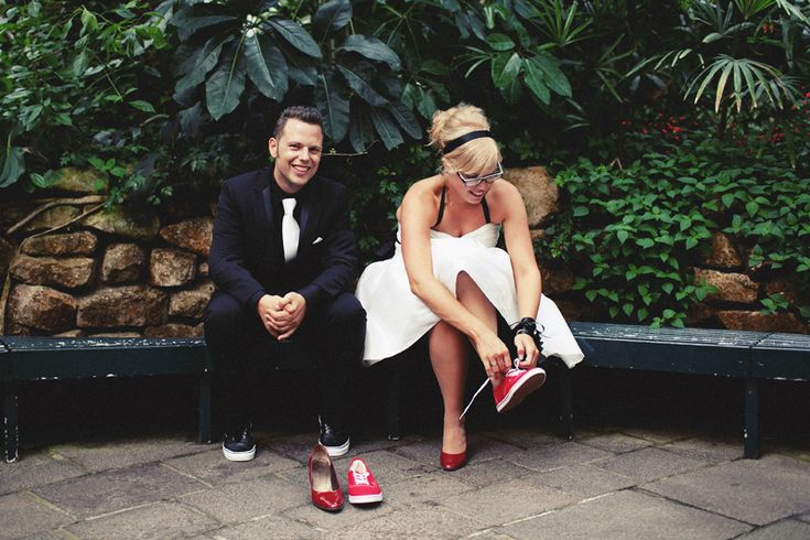 Red Vans sneakers to match with your wedding dress