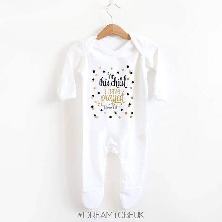 Scripture 1 samuel 1:27 baby romper suit - baby shower gift, christian, bible, sleepsuit, newborn gift, for this child, prayed, babygrow by IDreamtobeUK on Etsy https://www.etsy.com/uk/listing/547659475/scripture-1-samuel-127-baby-romper-suit