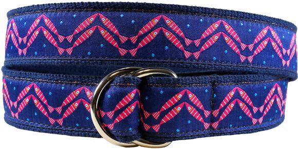 Women's D-ring belt. Pattern: Herringbone- designed by Solvejg Makaretz- made by Belted Cow in Maine.