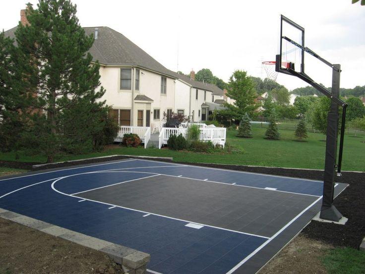 As 25 melhores ideias de backyard basketball court no for How much to build a backyard basketball court
