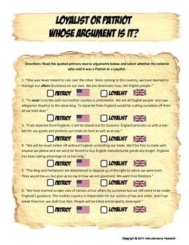 PATRIOTS OR LOYALIST: WHO SAID IT? AMERICAN REVOLUTION PRIMARY SOURCE ACTIVITY - TeachersPayTeachers.com