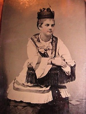 Tintype Young Lady Traditional Costume Ottoman Turk 1850 + Photograph Ferrotype