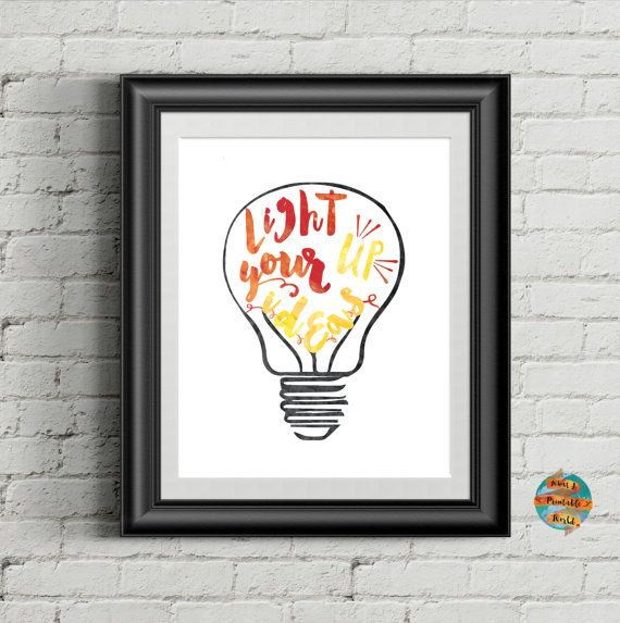 Light Up Your Ideas digital artwork Printable poster Wall