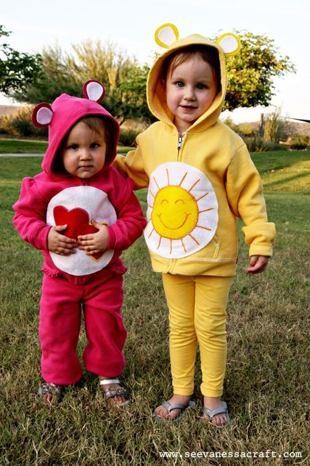 Easy bear costumes for Halloween!  I think I'd ditch the Care Bear part and just use a brown sweatsuit though.