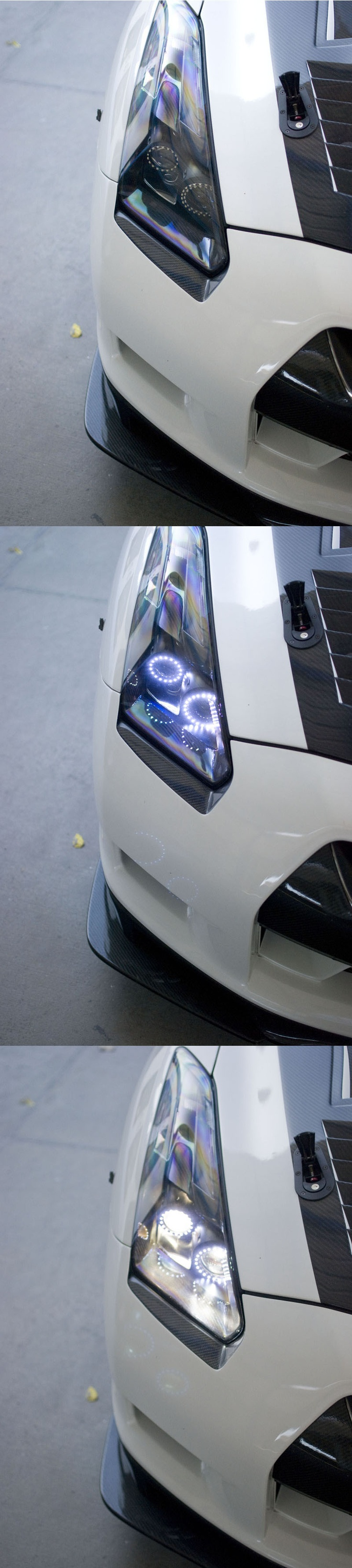 Nissan GTR LED Headlights. Black Satin Finish, shown off, with Angel Eyes only, and with Dual Projectors and Angel Eyes.