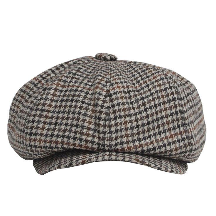 Grey Tweed Newsboy Cap Model with Brown