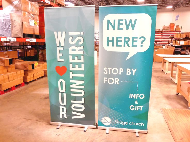 The Bridge Church uses these easy-to-store retractable banners to guide their visitors to the nearest hospitality host.