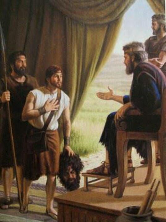 David brings goliaths head to king saul.