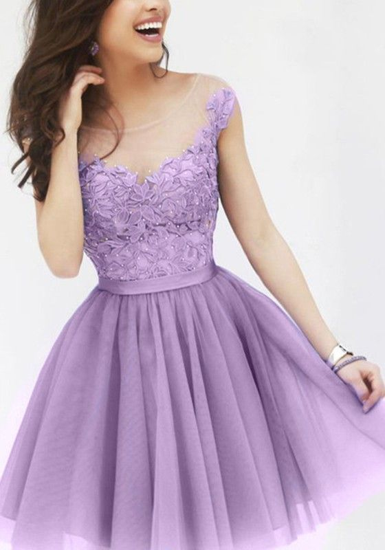 Purple Floral Grenadine Puffy Lace Sleeveless Crochet Sweet Cute Above Knee Tutu Dress