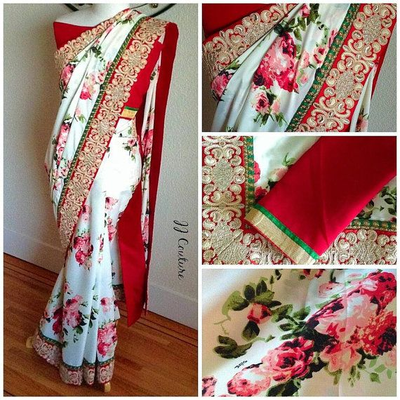 FREE SHIPPING Designer Floral Saree Bollywood by JJCOUTUREJEWELS