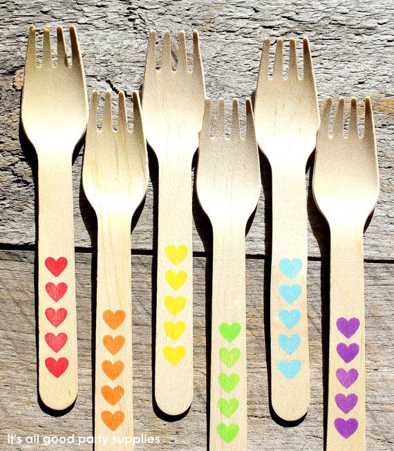 LARGE Wooden Forks with Hearts in BOYS Rainbow Colors - Eco-friendly Wooden Party Utensils (set of 18) via Etsy