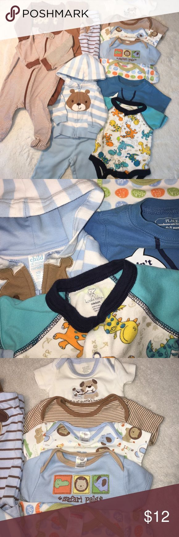 Bundle 13 items- Carters, Children's Place, more Excellent condition! Contains two Gerber zip up light weight sleep and plays, Carter's powder blue and white bear hoodie set, variety of onesies, and two pairs of pants. Sizes are either newborn or 0-3m. Matching Sets